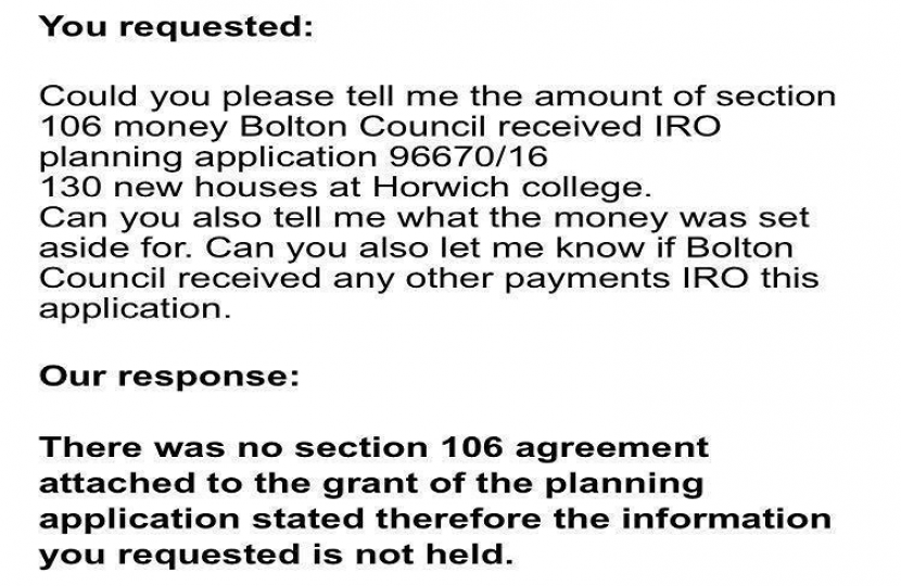 Bolton Council Response On Horwich College Site Section 106 Funding