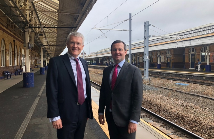 Chris Green with Minister at Bolton Train Station